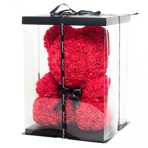 Мече от рози в луксозна кутия 35 см високо