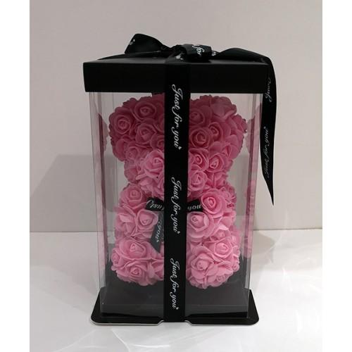 Мече от рози в луксозна кутия 25 см високо